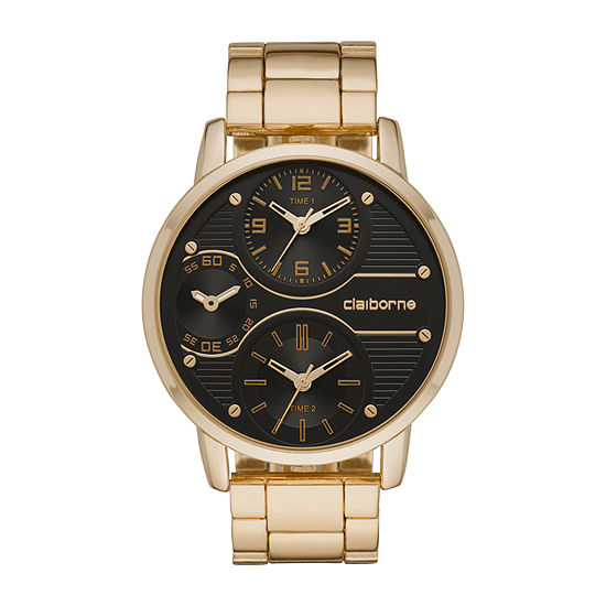Claiborne Mens Gold Tone Bracelet Watch-Clm1193t