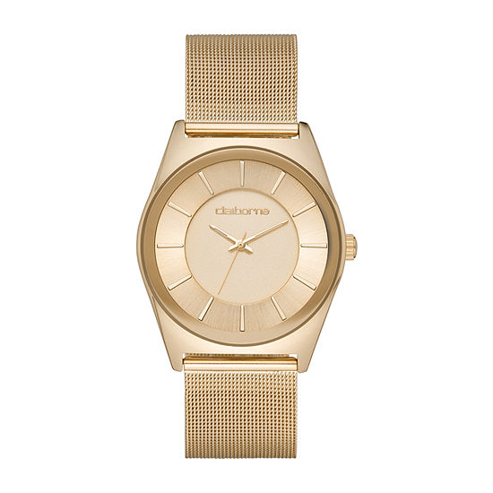 Claiborne Mens Gold Tone Stainless Steel Bracelet Watch-Clm1222t