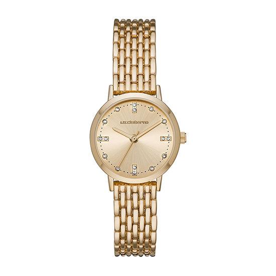 Liz Claiborne Womens Crystal Accent Gold Tone Bracelet Watch-Lc1372t