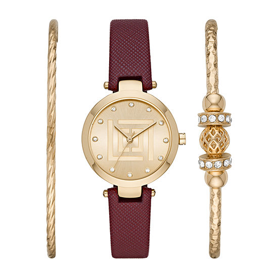 Liz Claiborne Womens Crystal Accent Brown 3-pc. Watch Boxed Set-Lc1378t