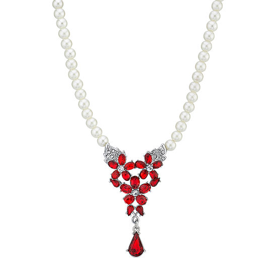 Downton Abbey By 1928 Jewelry Red 16 Inch Link Statement Necklace