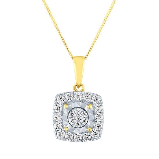 Womens 1/3 CT. T.W. Genuine Diamond 10K Gold Pendant Necklace