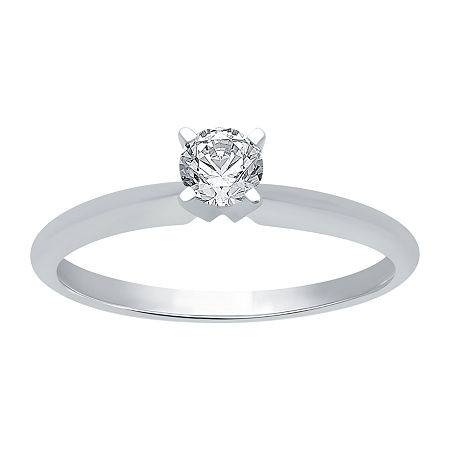 Womens 1/4 CT. T.W. Genuine White Diamond 10K White Gold Round Solitaire Engagement Ring
