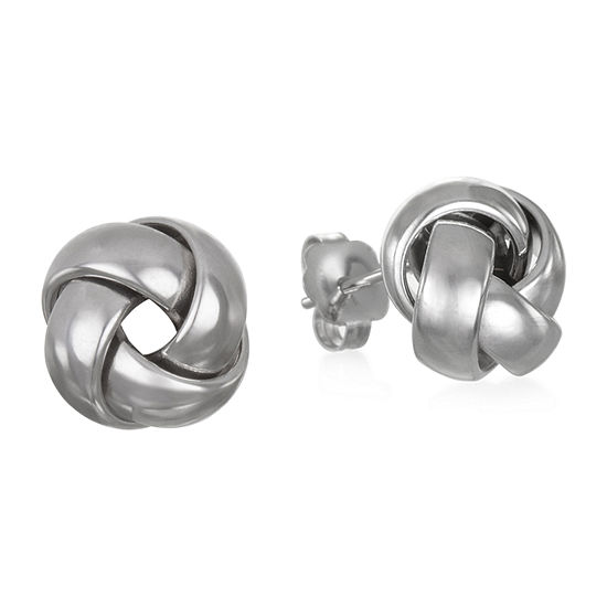 Made in Italy 14K White Gold 9.9mm Knot Stud Earrings