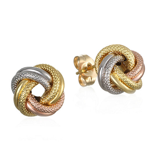 Made in Italy 14K Tri-Color Gold 10.2mm Knot Stud Earrings