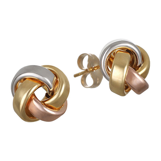 Made in Italy 14K Tri-Color Gold 10.5mm Knot Stud Earrings