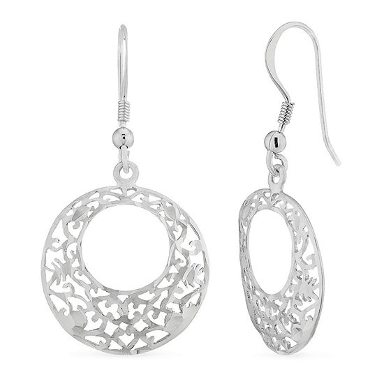 Sterling Silver Round Drop Earrings