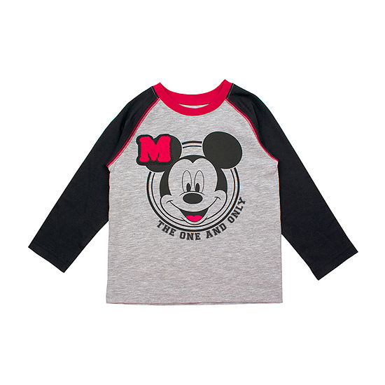Disney Toddler Boys Crew Neck Mickey Mouse Long Sleeve Graphic T-Shirt