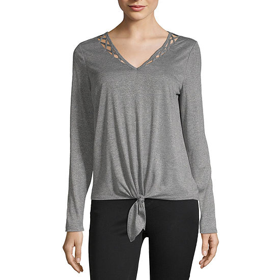 by&by Womens V Neck Long Sleeve Blouse-Juniors