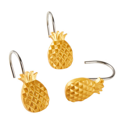 Saturday Knight Gilded Pineapple Shower Curtain Hooks