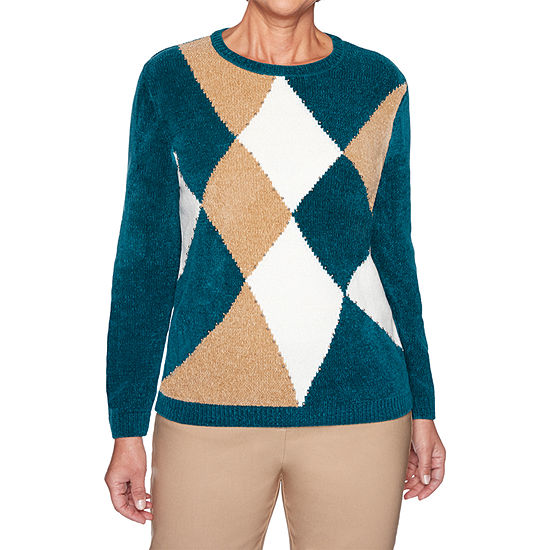 Alfred Dunner Classics Chenille Womens Crew Neck Long Sleeve Geometric Pullover Sweater