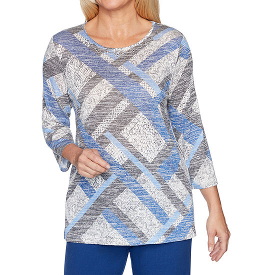 Alfred Dunner Sapphire Skies-Womens Crew Neck 3/4 Sleeve T-Shirt