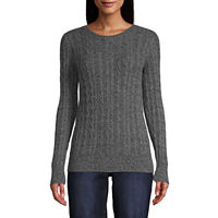 St. Johns Bay Womens Crew Neck Long Sleeve Pullover Sweater