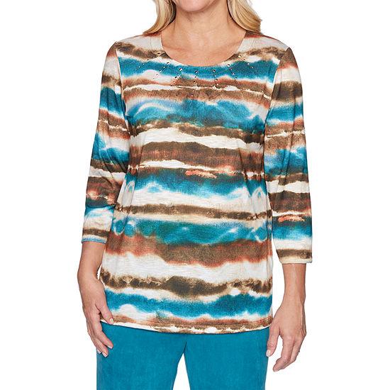 Alfred Dunner Walnut Grove-Womens Round Neck 3/4 Sleeve T-Shirt