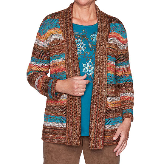 Alfred Dunner Walnut Grove Womens Long Sleeve Open Front Striped Cardigan