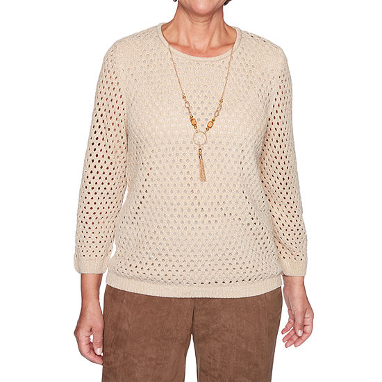 Alfred Dunner Walnut Grove Womens Crew Neck 3/4 Sleeve Pullover Sweater