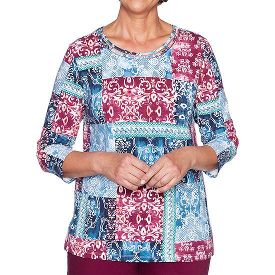 Alfred Dunner Autumn Harvest-Womens Crew Neck 3/4 Sleeve T-Shirt