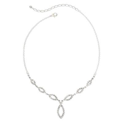 Vieste Silver-Tone & Rhinestone Graduated Y Necklace