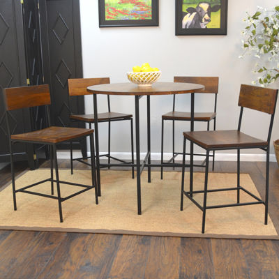 Elmsford Rustic Wood Barstool with Back