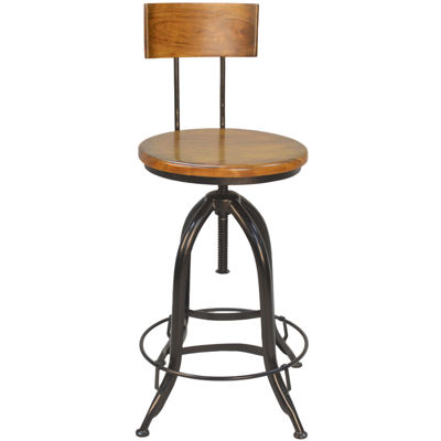Fulton Wood Adjustable Stool with Back