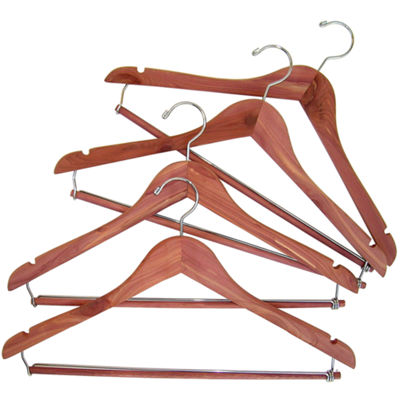 Household Essentials® Cedar Hanger with Locking Trouser Bar - 4 Pack