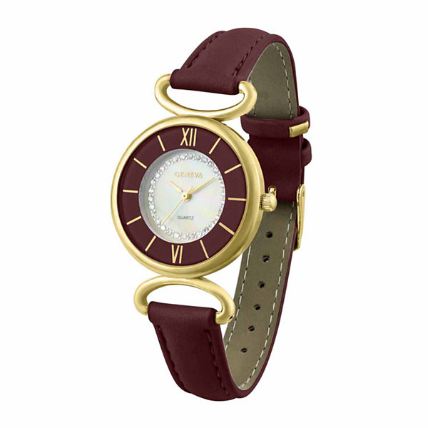 Geneva Womens Red Strap Watch-Pt1998gdwn