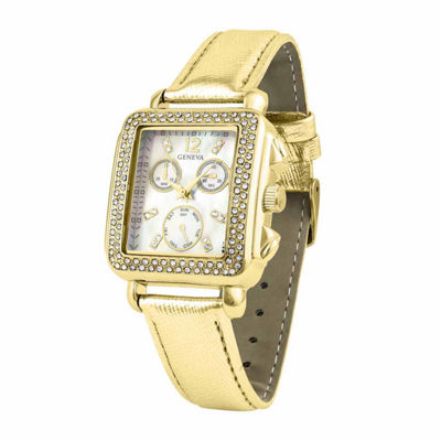 Geneva Womens Gold Tone Strap Watch-Pt1820gdgd