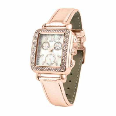 Geneva Womens Rose Goldtone Strap Watch-Pt1820rgrg
