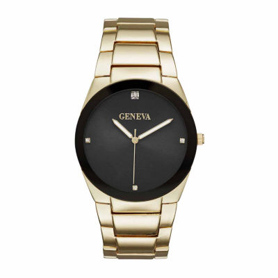 Geneva Mens Gold-Tone and Black Watch
