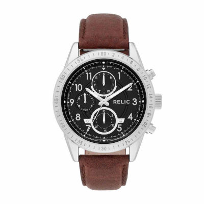 Relic Mens Brown Strap Watch-Zr15863