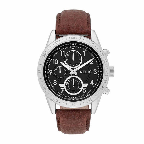 Relic By Fossil Mens Brown Strap Watch-Zr15863