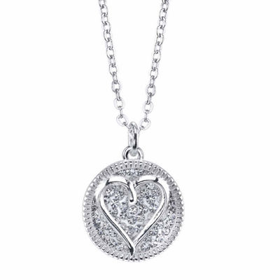 Sparkle Allure Womens Heart Pendant Necklace