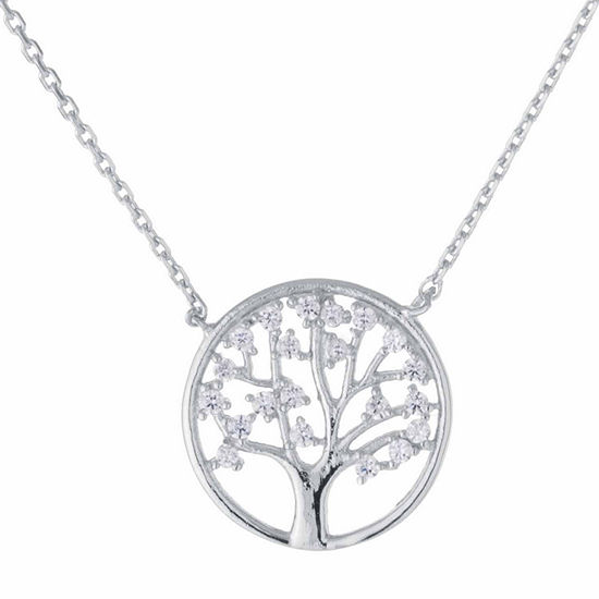 Silver Treasures Womens Sterling Silver Cubic Zirconia Tree of Life Pendant Necklace