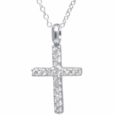 Silver Treasures Halo Womens Cross Pendant Necklace