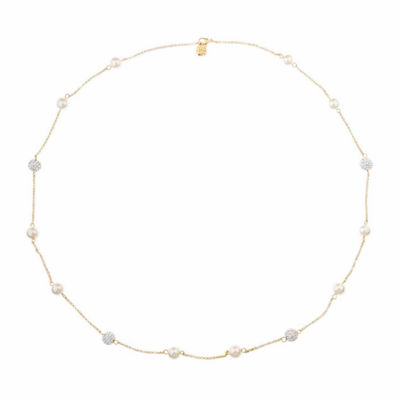 Monet Jewelry Womens White And Goldtone Long Station Necklace