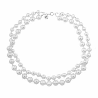 Monet Jewelry Womens White Double Row Necklace