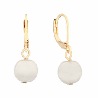 Monet White Goldtone Leverback Drop Earring