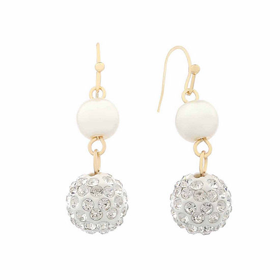 Monet White And Goldtone Wire Drop Earring