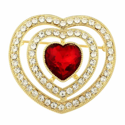 Monet Jewelry Red Clear And Goldtone Heart Pin