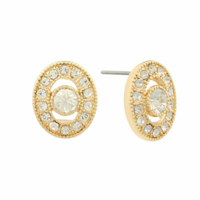 Monet Jewelry White 15.2mm Circle Stud Earrings