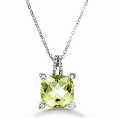 Womens Yellow Quartz Sterling Silver Pendant Necklace