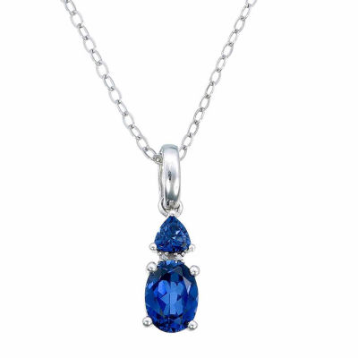 Womens Diamond Accent Lab Created Blue Sapphire Pendant Necklace