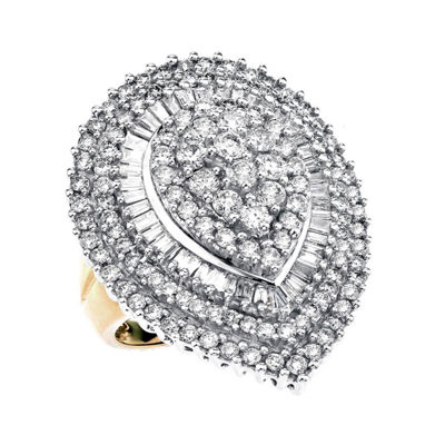 Womens 3 CT. T.W. Genuine White Diamond 10K Gold Cocktail Ring