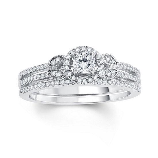 Womens 1/2 CT. T.W. Genuine White Diamond 10K Gold Bridal Set