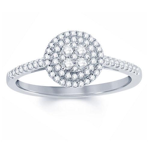 Womens 1/3 CT. T.W. Genuine Round White Diamond 10K Gold Engagement Ring