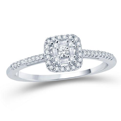 Womens 1/4 CT. T.W. Genuine Round White Diamond 10K Gold Engagement Ring