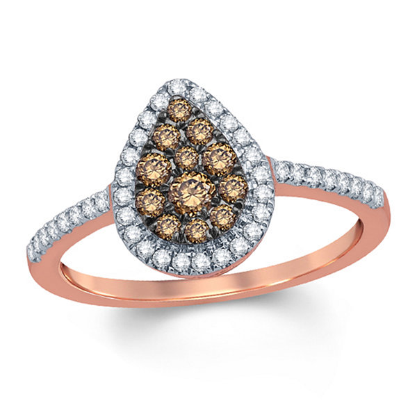 Womens 1/2 CT. T.W. Genuine Round Champagne Diamond 10K Gold Engagement Ring
