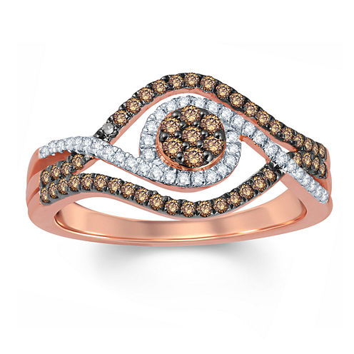 Womens 1/2 CT. T.W. Genuine Round Champagne Diamond 10K Gold Engagement Ring