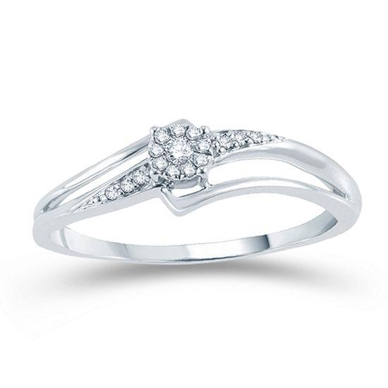 Promise My Love Womens Diamond Accent Genuine White Diamond 10K Gold Promise Ring