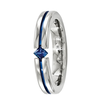 Edward Mirell Mens 4 Mm Genuine Blue Sapphire Titanium Band